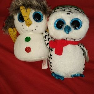 NEW Lot of 2 Beanie Boos Nester Owl & Buttons Snow